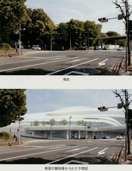 新国立競技場を入れた予想図(下)では、現状(上)の樹木がばっさり消える