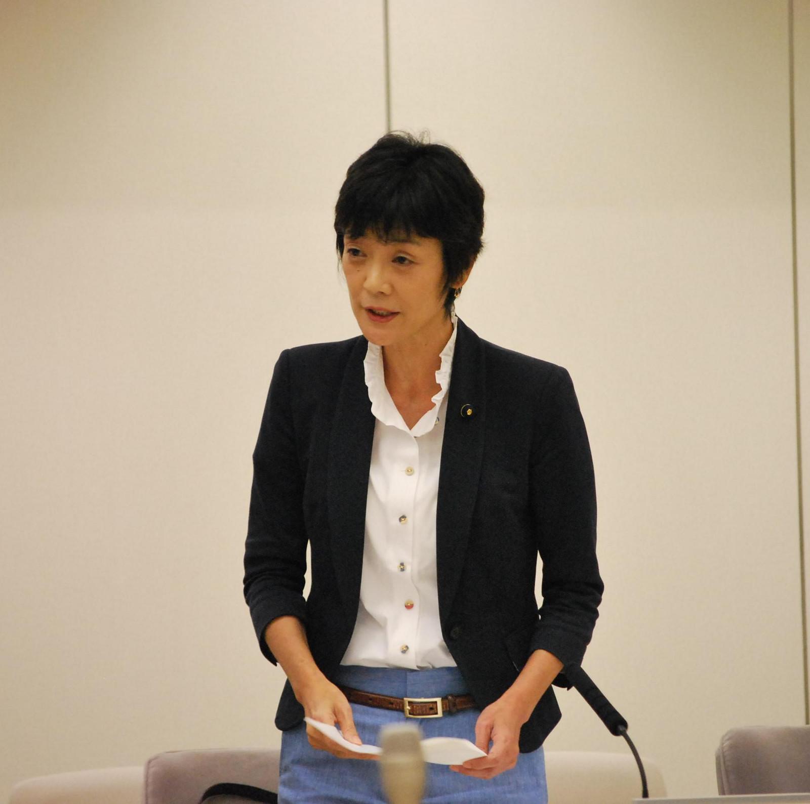 保育の水準の向上を訴える和泉なおみ都議=9月30日、東京都議会