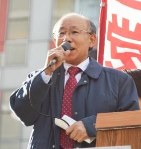 格差是正のため総選挙での共産党への支持を訴える宇都宮氏=7日、東京・渋谷駅前