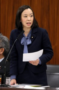 質問する吉良よし子議員=24日、参院総務委