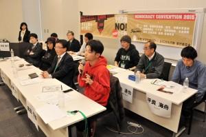 記者会見する安倍政権NO☆0322大行動実行委員会のメンバー=16日、衆院第1議員会館