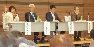 戦争法廃止へ力を尽くすと訴える(左から)田村、小川、木内の各氏=18日、東京都練馬区