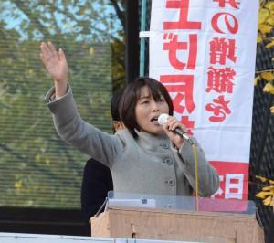 学費値上げ反対を訴える田村智子参院議員=24日、東京都文京区