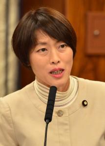 (写真)質問する田村智子議員=19日、参院内閣委(「しんぶん赤旗」提供)