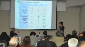 シンポで報告する山添さん=11日、東京都内(「しんぶん赤旗」提供)
