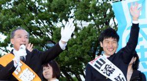「市民とともに勝ち抜く」と訴える伊藤候補(左)と山添候補(右)=29日=さいたま市(「しんぶん赤旗」提供)