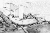 日本設計が東京都に提出した、築地市場移転後の再開発調査検討報告書に掲載した完成予想イメージ(A案)