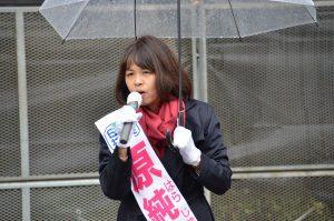 街頭で訴える原純子 東京9区候補(比例重複)