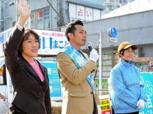 応援に駆け付けた田村智子・参院議員とともに訴える樋口まこと 候補