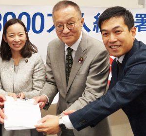 各地区からの署名用紙を受け取る(左から)吉良よし子・参院議員、笠井亮・衆院議員、谷川智行・前衆院比例候補=20日、衆議院第二議員会館