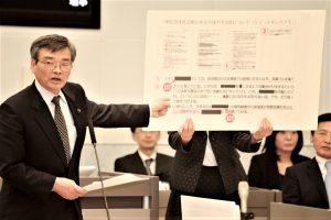 都の文書を示して追求する曽根はじめ都議=13日、東京都議会
