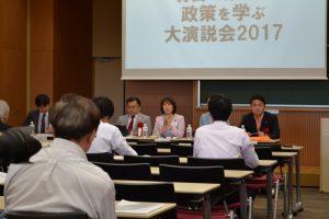政策についての質問に答える日本共産党の田村智子衆院議員=4日、東京都江東区