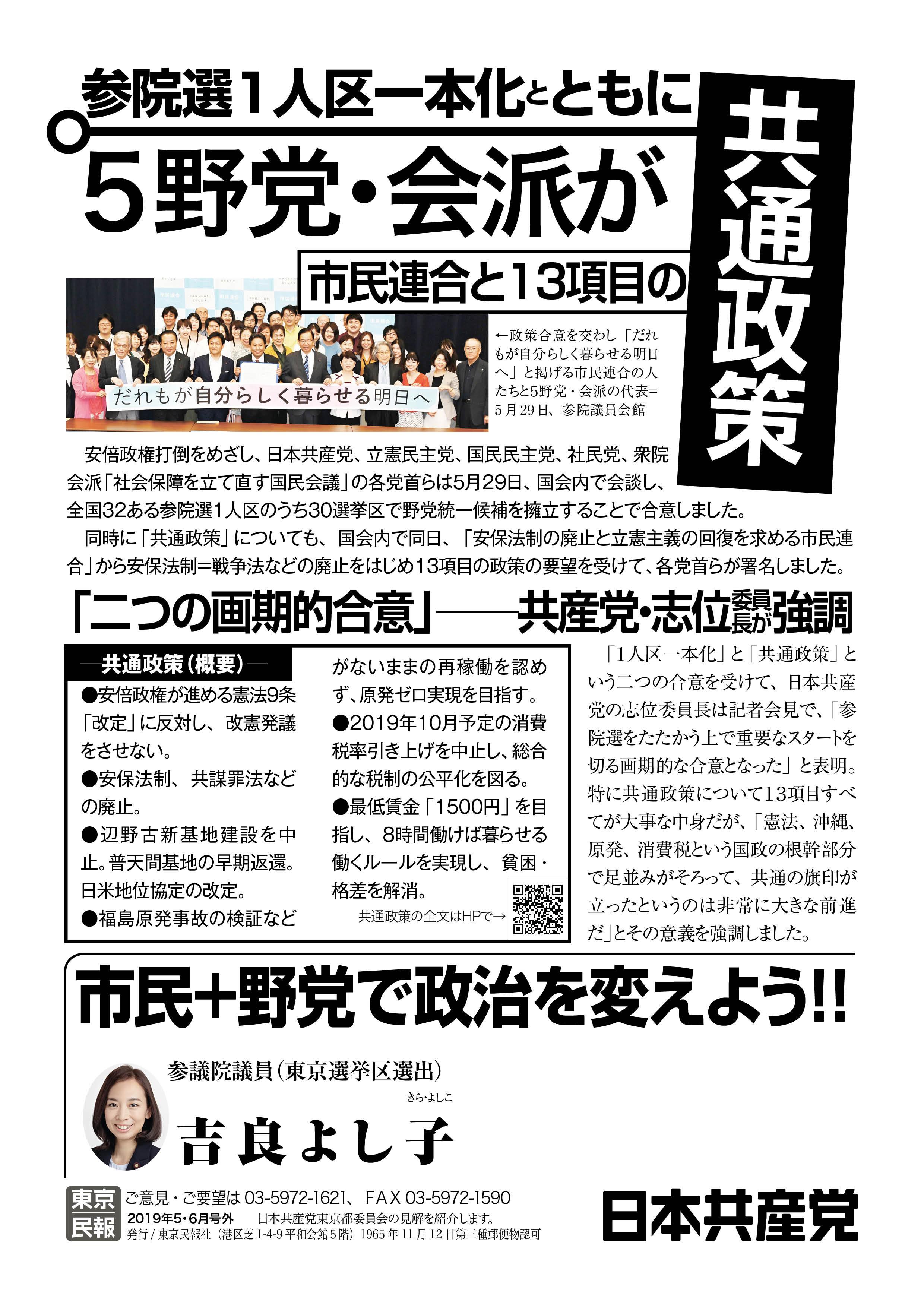 参議院 議員 選挙 2019 東京