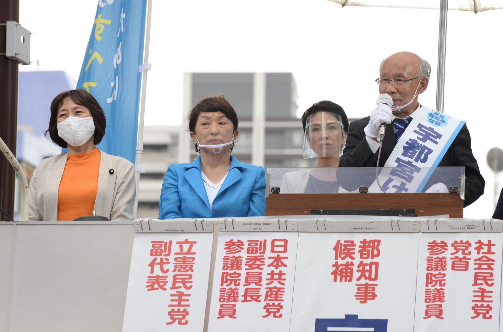 田村、福島、蓮舫の各氏とともに訴える宇都宮候補